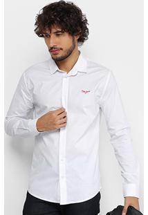 Camisa Coca Cola Camisa Slim Lisa Com Bordado 313200602 - Masculino-Branco