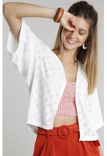 Kimono Feminino Curto Em Laise Manga Curta Off White