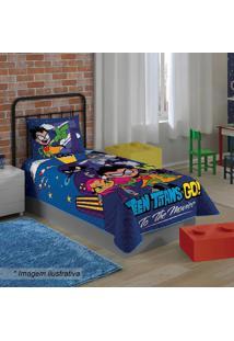Colcha Teen Titans Goâ® De Solteiro- Azul Escuro & Azul
