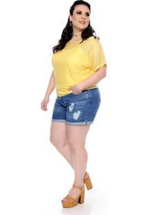 Blusa Renda Vazada Amarela Plus Size