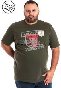 Camiseta Konciny Manga Curta Plus Size Musgo