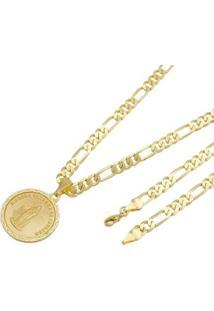 Pingente Nossa Senhora De Lurdes Tudo Joias Com Corrente 6Mm Folheada A Ouro 18K - Unissex-Dourado