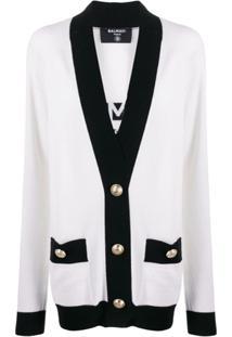 Balmain Cardigan Com Logo E Acabamento Contrastante - Branco