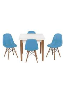 Conjunto Mesa De Jantar Luiza 80Cm Branca Com 4 Cadeiras Botonê - Turquesa