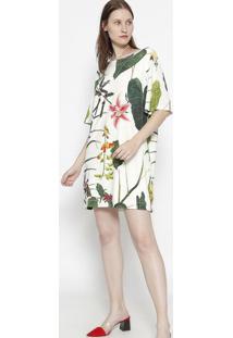 Vestido Floral Com Amarraã§Ã£O - Off White & Verdeosklen