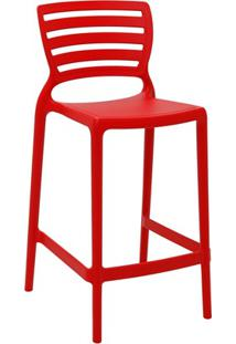 Cadeira Alta Em Polipropileno Sofia 93,5X48X47Cm Vermelha