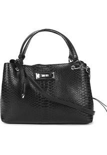 Bolsa Santa Lolla Handbag Placa Alça Fivela Chaveiro Feminina - Feminino-Preto+Prata