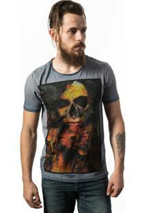 Camiseta Estonada Skull Lab Love Skull - Masculino-Cinza