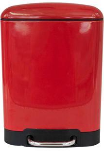 Lixeira Retangular Com Pedal 6 Litros Vermelha