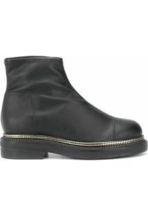 Grey Mer Ankle Boot Com Detalhe De Mesh - Preto