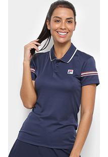 Camisa Polo Fila Stripe Feminina - Feminino-Marinho+Branco