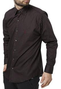 Camisa Manga Longa Masculina - Masculino-Preto