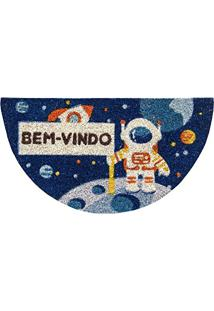 Capacho Meia Lua Fibra De Coco 33Cmx60Cm Colorful Bella Casa Astronauta