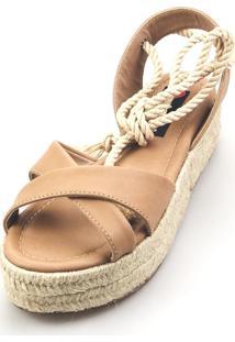 Salomé Espadrille Love Shoes Anabela Plataforma Corda Amarrar Nude