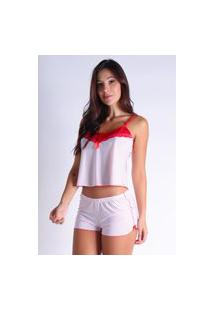 Baby Doll Bravaa Modas Short Doll Renda Pijama Curto 298 Branco