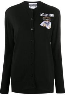 Moschino Cardigan Com Bordado Teddy Bear - Preto