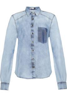 Camisa Jeans Feminina Com Lavação E Detalhe De Bolso