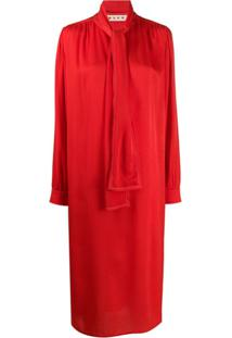 Marni Vestido Midi Com Faixa - Vermelho
