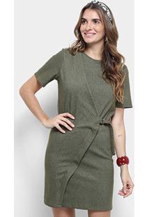 Vestido Cantão Curto Tubinho Transpasse Fivela - Feminino-Verde Militar