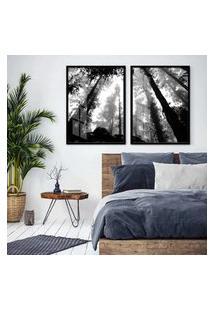 Quadro 65X90Cm Floresta Preto E Branco Moldura Preta Com Vidro