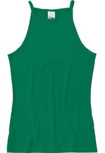 Blusa Verde Canelada Em Viscose
