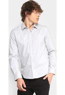 Camisa Ellus Tricoline Italiana Slim Masculina - Masculino-Cinza