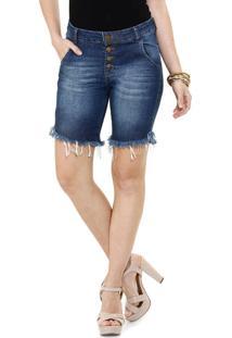 Bermuda Feminina Em Jeans Barra Desfiada Marisa