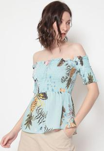 Blusa Ciganinha Floral - Azul & Branca - Estilo Hestilo H