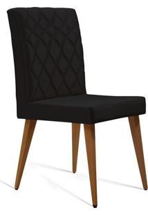 Cadeira De Jantar Edon Cetim Preto