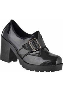 Oxford D&R Shoes Verniz Tratorada Feminina - Feminino-Preto