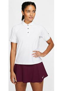 Camisa Polo Nike Court Essential Feminina - Feminino-Branco+Preto