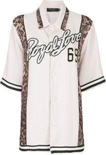Dolce & Gabbana Camisa Royal Love Com Acabamento De Leopardo - Branco