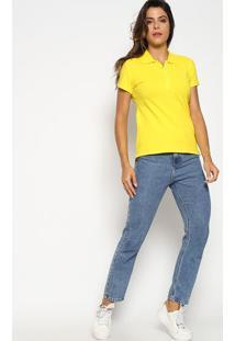 Polo Slim Fit Em Piqu㪠Com Bordado- Amarela & Azul Claroaleatory