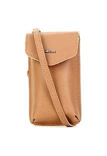 Bolsa Anacapri Mini Bag Pqn Bali Porta Celular Feminina - Feminino-Caramelo