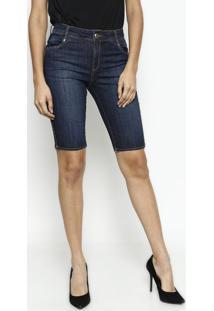 2eeddcfba ... Bermuda Jeans Desfiada - Azul Escuro - Maria Valentmaria Valentina