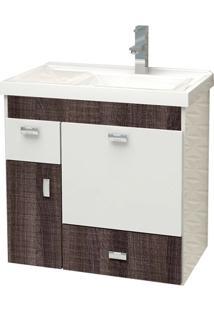 Gabinete Para Banheiro Em Mdf Com Tampo Orquídea 59,6Cm Branco E Dakota