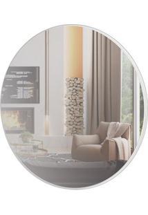 Espelho Redondo Lunes Grande Cor Off White Brilho 60 Cm (Diam) - 56533 - Sun House