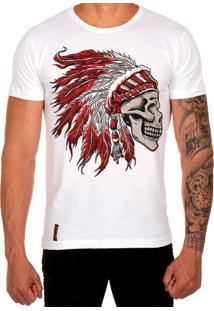 Camiseta Lucas Lunny T Shirt Estampada Caveira Cocar Vermelho Branco