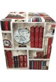 Puff Quadrado Alce Couch Belize Livros Biblioteca 45Cm - Bege - Dafiti
