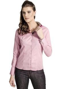 Camisa Carlos Brusman Feminina Slim Reta Poá - Feminino-Rosa