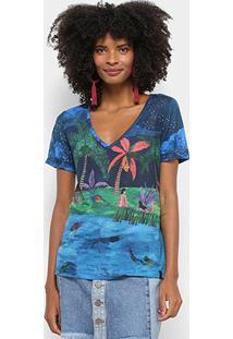 Camiseta Cantão Estampa Tropical Lagoa Azul Decote V Feminina - Feminino-Azul Piscina+Azul