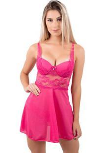 Camisola Bella Fiore Sexy Com Renda E Bojo - Feminino-Rosa