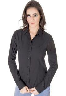 Camisa Básica Calvin Klein Feminina - Feminino-Preto