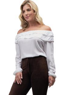 Blusa Viscose Mx Fashion Babados Holly Off White