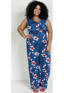 Macacão Pantalona Floral Azul Plus Size