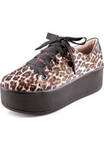 Tênis Flatform Frida Shoes Cetim Oncinha Preto