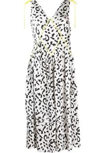 Self-Portrait Vestido Midi Animal Print - Branco