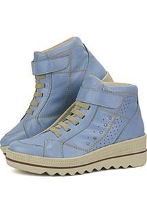 Tênis Flat Couro Cano Médio Sapatofran Plataforma Velcro Lançamento Feminino - Feminino-Azul