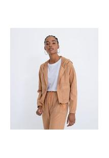 Jaqueta Em Poliamida Com Recortes E Capuz | Blue Steel | Bege | G