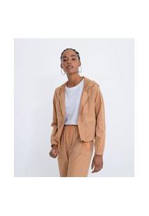 Jaqueta Em Poliamida Com Recortes E Capuz | Blue Steel | Bege | Pp